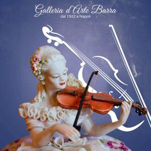 Porcellana di Capodimonte, Dama con Violino, abito di pizzo,Tulle in porcellana