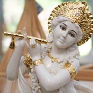 Porcellana Capodimonte. Divinità Indiane. Krishna, versione Bianco e Oro.