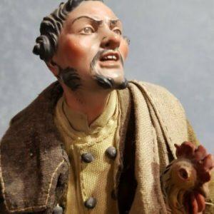 Pastore del Presepe Napoletano, Contadino con Gallo, occhi di vetro. L' ORIGINALE