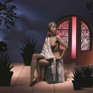 Porcellana artistica Gres. Nudo con Scialle.