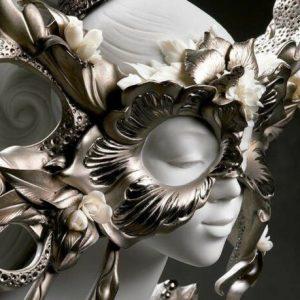 Porcellana Artistica.Carnevale Fantasy Sculpture, Silver Lustre.Limited Edition.