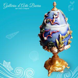 Porcellana di Capodimonte. Uovo Potiche. I segreti del Mare.