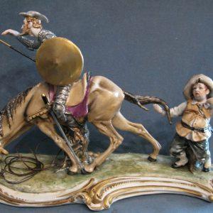 Porcellana Capodimonte. Don Chisciotte e Sancho Panza, Raro