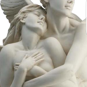 Porcellana di Capodimonte. Amore Psiche. Abbraccio eterno Versione Bianca.