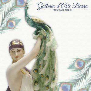 Porcellana di Capodimonte Dama con Pavone, Serie Liberty collezione Elite