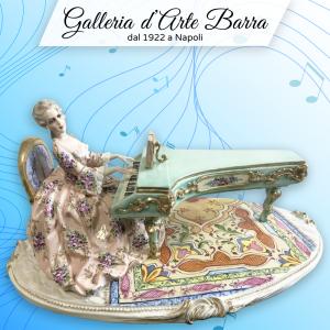 Porcellana Capodimonte Collezione Fabris. DAMA al pianoforte. Esclusiva, Rara