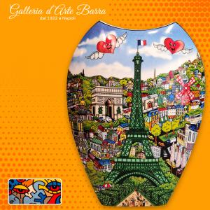 Porcellana artistica Pop art 3D. Vaso double face. Parigi, Londra By Charles Fazzino