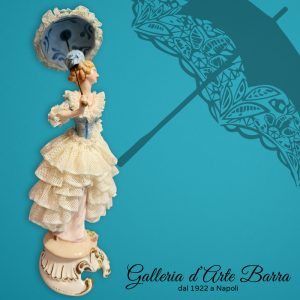 Porcellana di Capodimonte, Dama Ombrellino. Abito pizzo in porcellana bianca