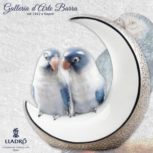 Lladro Porcellana Artistica by Lladró Animali.Coppia pappagalli prendimi la luna