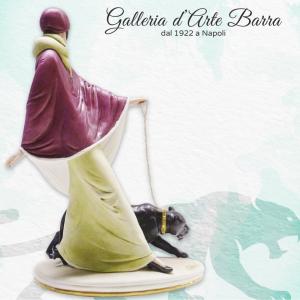 Porcellana di Capodimonte Dama con Pantera  serie Liberty collezione Elite
