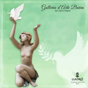 Lladró Porcellana artistica in Gres by Lladro. Figura, Donna, Nudo con Colomba.