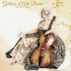 Porcellana Capodimonte FABRIS Fantastica Dama al Violoncello. RARA
