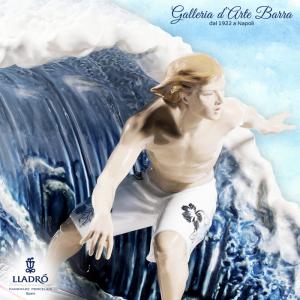 Lladró Porcellana artistica by Lladro. Nella grande onda. Surfista, Ed Limitata.