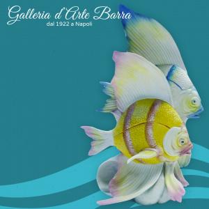 porcellana di Capodimonte. Scultura coppia di pesci. Fantastica creazione.