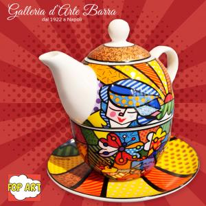 Porcellana artistica Pop art. BRITTO Garden. Tea for one