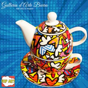 Porcellana artistica Pop art. BRITTO. Tea for one.