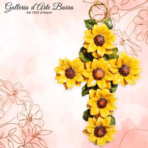 Croce da parete tempestata di fiori decoro Girasoli. Porcellana Capodimonte